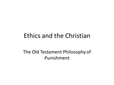 Essay/Term paper: Ethical values in the old testament
