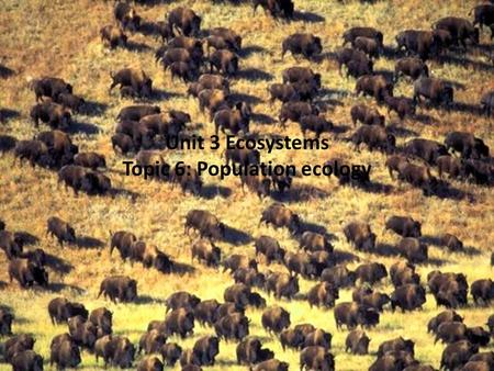 Unit 3 Ecosystems Topic 6: Population ecology Populations All of the individuals of a species in a given area at the same time Characteristics of populations.