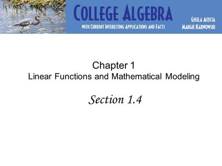 Chapter 1 Linear Functions and Mathematical Modeling Section 1.4.