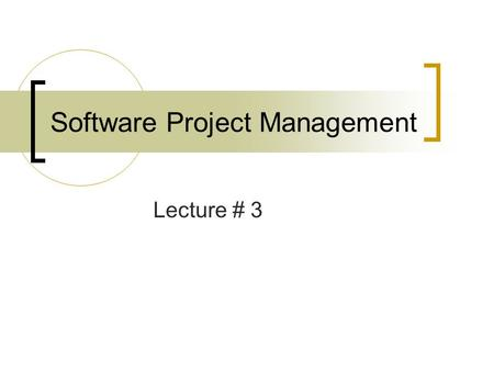 Software Project Management Lecture # 3. Outline Metrics for Process and Projects  Introduction  Software Metrics Process metrics Project metrics Direct.