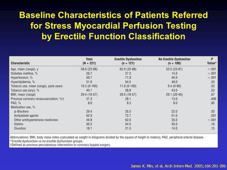 Baseline Characteristics of Patients Referred for Stress Myocardial Perfusion Testing by Erectile Function Classification James K. Min, et al, Arch Intern.