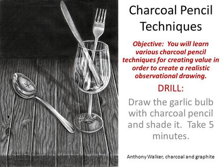 Charcoal Pencil Techniques Objective: You will learn various charcoal pencil techniques for creating value in order to create a realistic observational.