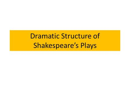 Dramatic Structure of Shakespeare's Plays. The Basic Plot Structure Diagram for FICTION.