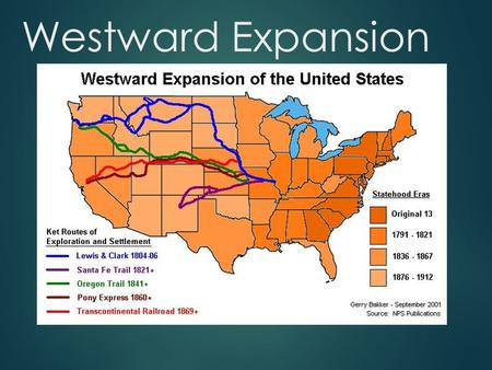 Westward Expansion. U.S. Land Acquired in the 1800s.
