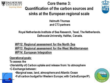 Core theme 3: Quantification of the carbon sources and sinks at the European regional scale Operational goals: To assess the (Variability of) Carbon uptake.