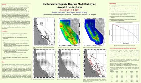 California Earthquake Rupture Model Satisfying Accepted Scaling Laws (SCEC 2010, 1-129) David Jackson, Yan Kagan and Qi Wang Department of Earth and Space.