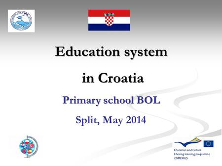 Education system in Croatia in Croatia Primary school BOL Split, May 2014.
