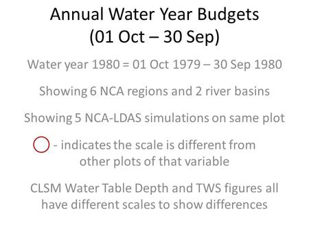 Annual Water Year Budgets (01 Oct – 30 Sep) Water year 1980 = 01 Oct 1979 – 30 Sep 1980 Showing 6 NCA regions and 2 river basins Showing 5 NCA-LDAS simulations.