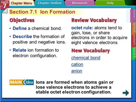 Section 7-1 Section 7.1 Ion Formation Define a chemical bond. octet rule: atoms tend to gain, lose, or share electrons in order to acquire eight valence.