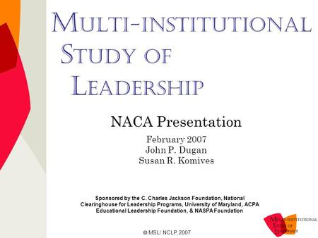 M ulti-Institutional S tudy of L eadership NACA Presentation February 2007 John P. Dugan Susan R. Komives Sponsored by the C. Charles Jackson Foundation,