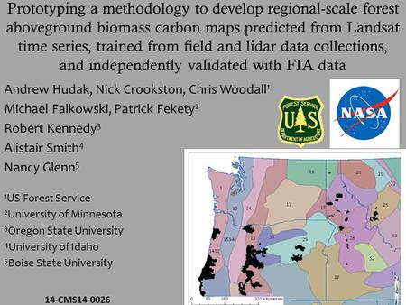 Prototyping a methodology to develop regional-scale forest aboveground biomass carbon maps predicted from Landsat time series, trained from field and lidar.