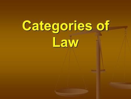 Categories of Law. The Law The broadest categories of law are International Law and Domestic Law.