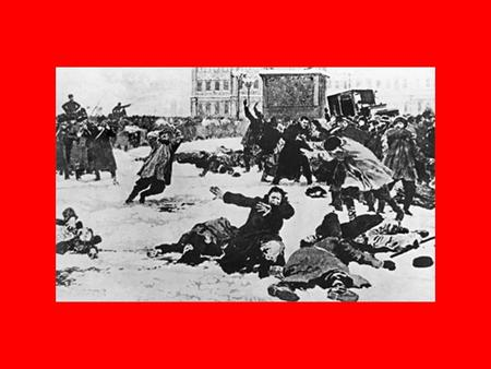 Bloody Sunday In January 1905 about 200,000 unarmed workers marched to the Tsar's Winter Palace in St Petersburg to petition the Tsar for A. better.