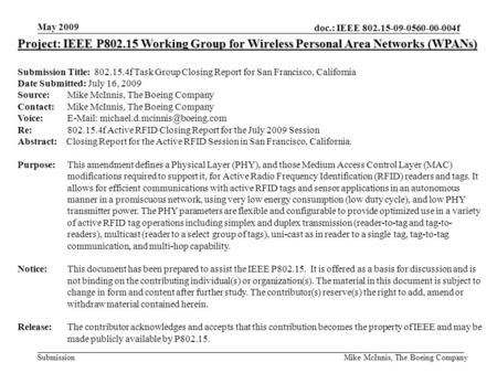 Doc.: IEEE 802.15-09-0560-00-004f Submission May 2009 Mike McInnis, The Boeing Company Project: IEEE P802.15 Working Group for Wireless Personal Area Networks.