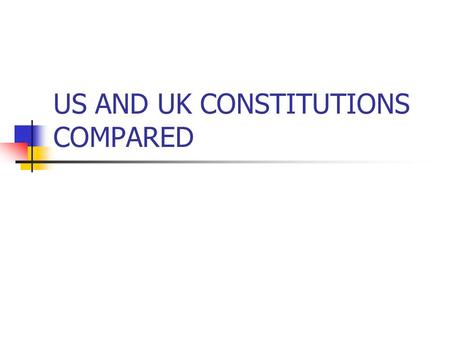 US AND UK CONSTITUTIONS COMPARED. UK PARLIAMENTARY SOVEREIGNTY No higher authority than parliament No higher law Any law can be made or unmade with no.