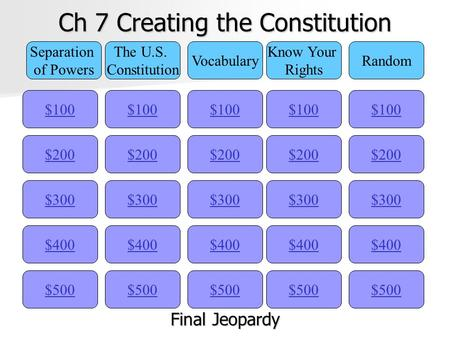 Ch 7 Creating the Constitution $100 Separation of Powers The U.S. Constitution Vocabulary Know Your Rights Random $200 $300 $400 $500 $400 $300 $200 $100.