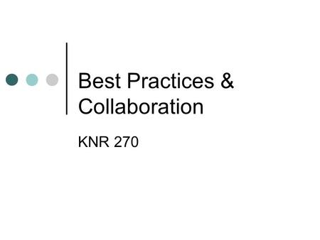 Best Practices & Collaboration KNR 270. ADA Americans with Disabilities Act of 1990 (PL 101-336) Goals Eliminate discrimination against people with disabilities.