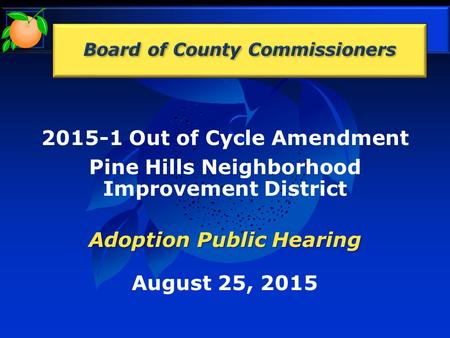 2015-1 Out of Cycle Amendment Pine Hills Neighborhood Improvement District Adoption Public Hearing August 25, 2015.