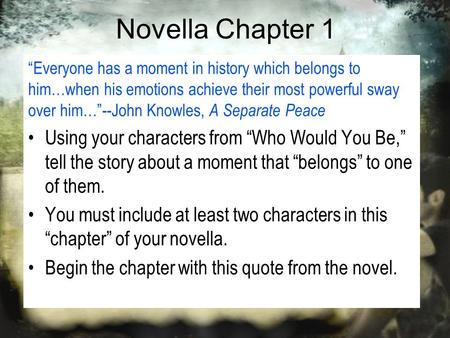 "Novella Chapter 1 ""Everyone has a moment in history which belongs to him…when his emotions achieve their most powerful sway over him…""--John Knowles, A."