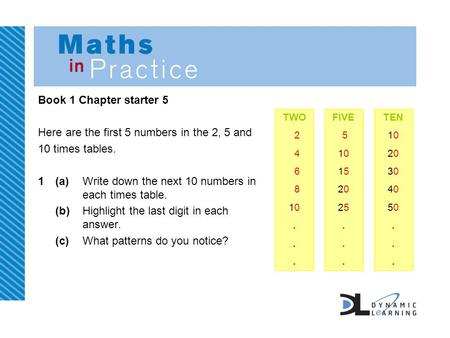 Book 1 Chapter starter 5 Here are the first 5 numbers in the 2, 5 and 10 times tables. 1(a)Write down the next 10 numbers in each times table. (b)Highlight.