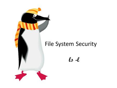 File System Security ls -l. First Columm d = directory l = symbolic link b = block special file c = character special file p = fifo (or named pipe) special.