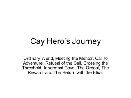 Cay Hero's Journey Ordinary World, Meeting the Mentor, Call to Adventure, Refusal of the Call, Crossing the Threshold, Innermost Cave, The Ordeal, The.