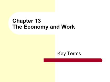 Chapter 13 The Economy and Work Key Terms. economy The social institution that ensures the maintenance of society through the production, distribution,