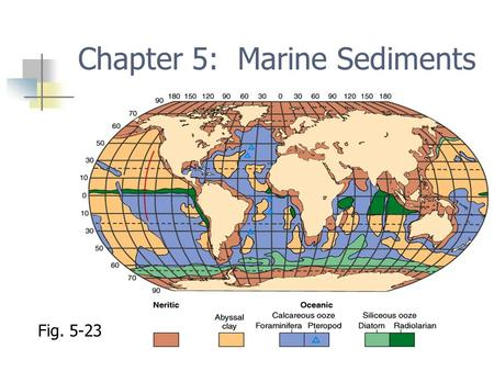 Chapter 5: Marine Sediments Fig. 5-23. Marine sediments Eroded rock particles and fragments Transported to ocean Deposit by settling through water column.