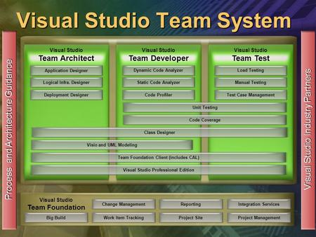 Visual Studio Team System Change ManagementWork Item TrackingReportingProject Site Visual Studio Team Foundation Integration ServicesProject Management.
