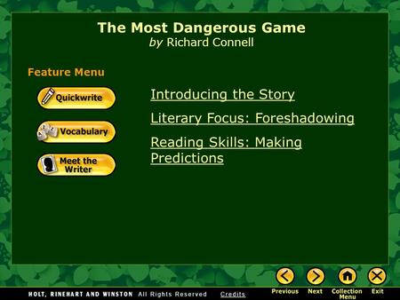 literary devices used in richard connells the most dangerous game The most dangerous game - richard connell's original masterpiece [richard connell] on amazoncom free shipping on qualifying offers the most dangerous game is richard connell's best known story and has spawned many imitations and a number of film adaptations.