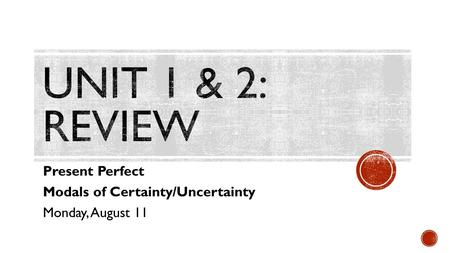 Present Perfect Modals of Certainty/Uncertainty Monday, August 11.