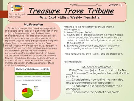 Treasure Trove Tribune Mrs. Scott-Ellis's Weekly Newsletter Sharpening skills for success! Week 10 Multiplication Attached to this newsletter you should.