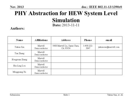 Doc.: IEEE 802.11-13/1390r0 Submission Nov. 2013 Yakun Sun, et. Al.Slide 1 PHY Abstraction for HEW System Level Simulation Date: 2013-11-11 Authors: