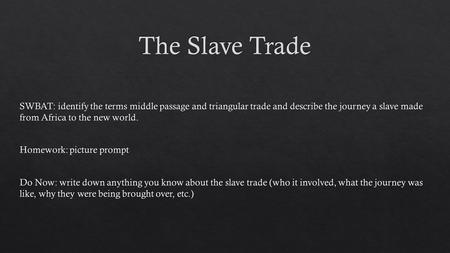 Manufactured goods (guns, cannons, and other metal items) would be traded with Africa in exchange for slaves. Slaves would be traded in the Caribbean.
