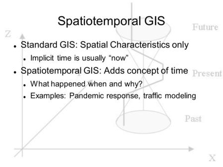 "Spatiotemporal GIS Standard GIS: Spatial Characteristics only Implicit time is usually ""now"" Spatiotemporal GIS: Adds concept of time What happened when."