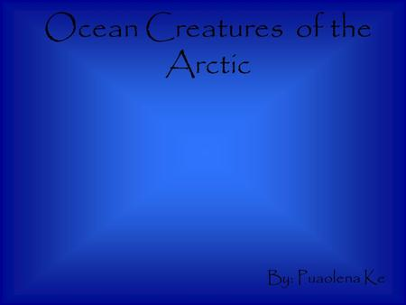 Ocean Creatures of the Arctic By: Puaolena Ke. Where does the animal live? Walruses spend about two-thirds of their lives in the water. Walruses are adapted.