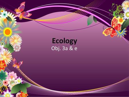 Ecology Obj. 3a & e. Ecosystems  An ecosystem is all the organisms that live in an area together with the nonliving factors of the environment  Ex.