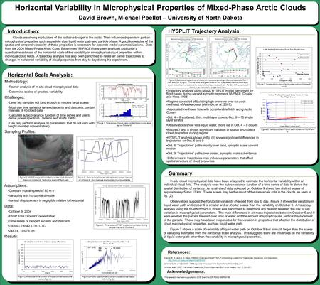 Horizontal Variability In Microphysical Properties of Mixed-Phase Arctic Clouds David Brown, Michael Poellot – University of North Dakota Clouds are strong.