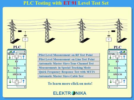 PLC Testing with ET 91 Level Test Set To learn more click on note! Pilot Level Measurement on RF Test Point Measurements in Special Tracking Mode Pilot.