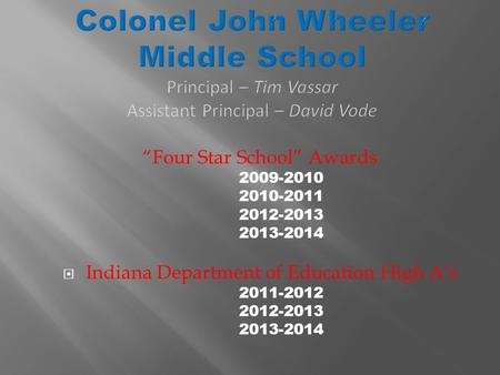 """Four Star School"" Awards 2009-2010 2010-2011 2012-2013 2013-2014  Indiana Department of Education High A's 2011-2012 2012-2013 2013-2014."