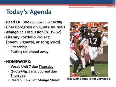 Today's Agenda Read I.R. Book [project due 10/28!] Check progress on Quote Journals Mango St. Discussion [p. 35-52] Literary Portfolio Project: [poem,