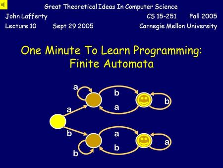 Great Theoretical Ideas In Computer Science John LaffertyCS 15-251 Fall 2005 Lecture 10Sept 29 2005Carnegie Mellon University b b a b a a a b a b One.