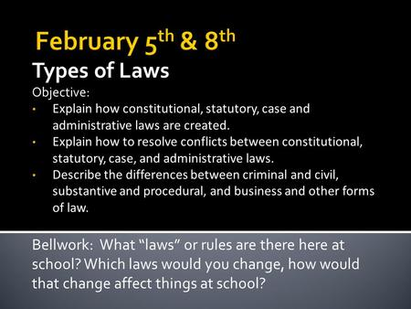 Types of Laws Objective: Explain how constitutional, statutory, case and administrative laws are created. Explain how to resolve conflicts between constitutional,