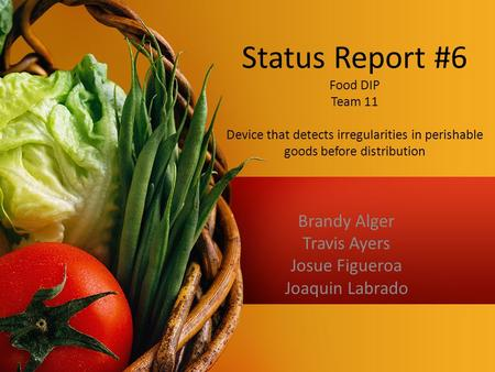 Status Report #6 Food DIP Team 11 Device that detects irregularities in perishable goods before distribution Brandy Alger Travis Ayers Josue Figueroa Joaquin.