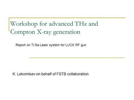 Workshop for advanced THz and Compton X-ray generation