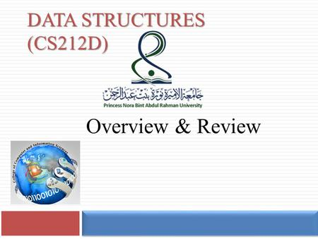 DATA STRUCTURES (CS212D) Overview & Review Instructor Information 2  Instructor Information:  Dr. Radwa El Shawi  Room:2.501.29 