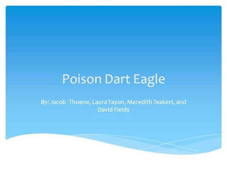 Poison Dart Eagle By: Jacob Thoene, Laura Tayon, Meredith Teakert, and David Fields.