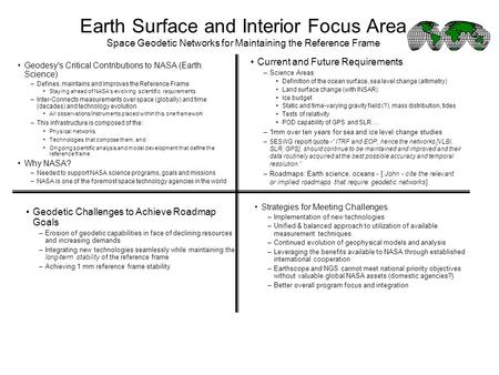 Earth Surface and Interior Focus Area Space Geodetic Networks for Maintaining the Reference Frame Geodesy's Critical Contributions to NASA (Earth Science)