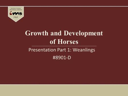 Growth and Development of Horses Presentation Part 1: Weanlings #8901-D.