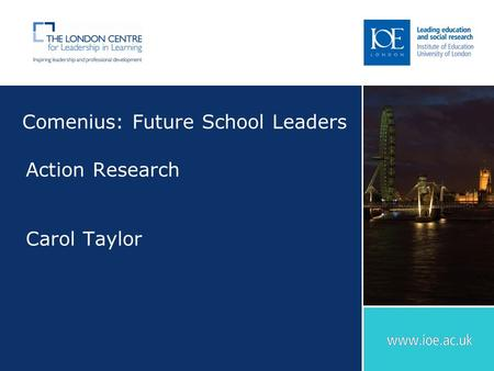 Comenius: Future School Leaders Action Research Carol Taylor.